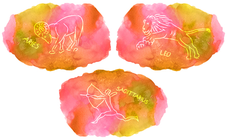 Signs triplicity elements of fire on watercolor , Aries, Leo, Sagittarius