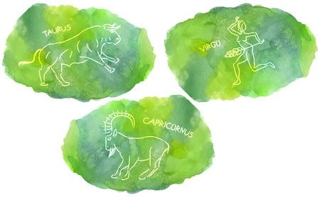 capricornus: Zodiac Signs triplicity elements of Earth on watercolor, Taurus, Virgo, Capricorn