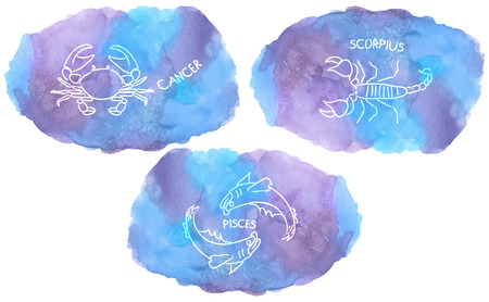 Zodiac Signs triplicity elements of Water on watercolor, Cancer, Scorpius, Pisces Illustration