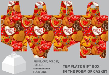 Template holiday cardboard gift box in the form of casket with gingerbread background Illustration