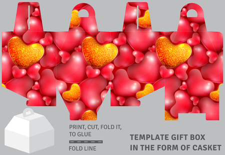 Template holiday cardboard gift box in the form of casket with background of hearts
