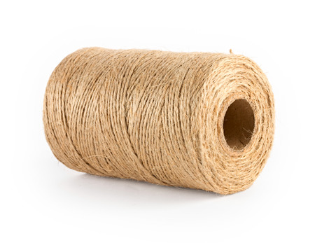 Reel of brown natural rope, isolated on white Stock Photo