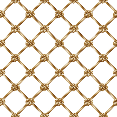 Seamless pattern, background, yellow rope woven in the form fishing net, isolated on white Vettoriali