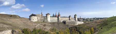 Panorama of an old castle in Kamenetz Podolsky, Ukraine, Europe.