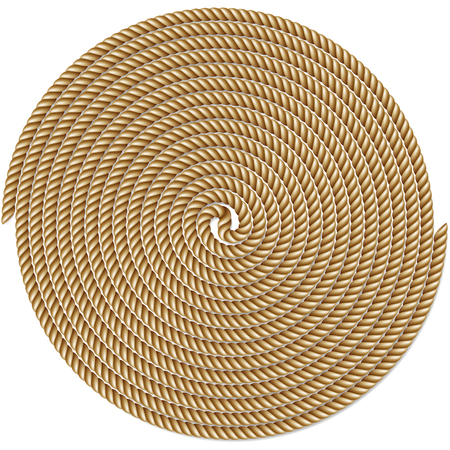 Coiled rope in circle, pattern background, isolated on white