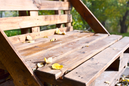 timber bench seat: The bench of the wooden pallet stands on the alley of the park, autumn landscape