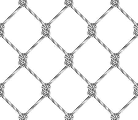 Naadloos patroon, achtergrond, grijze die kabel in het vormvisnet wordt geweven, op witte achtergrond wordt geïsoleerd
