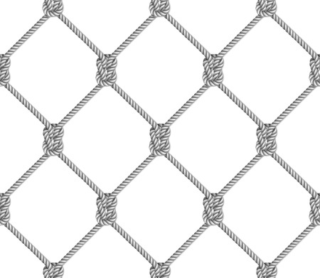 Seamless pattern, background, gray rope woven in the form fishing net, isolated on white  background