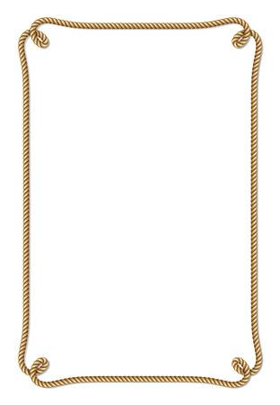 Gele kabel geweven vectorgrens met kabelknopen, verticaal vectordiekader, op wit wordt geïsoleerd