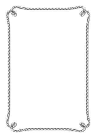 로프 매듭, 세로 벡터 프레임, 흰색 배경에 고립 된 노란색 밧줄 짠된 벡터 테두리