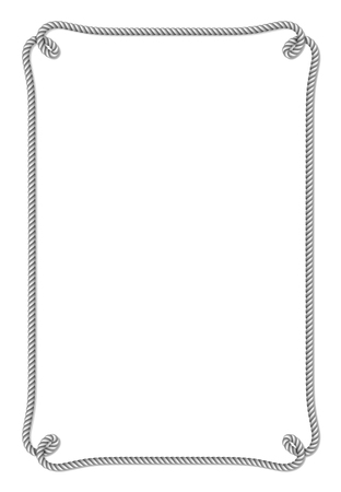 Gele kabel geweven vectorgrens met kabelknopen, verticaal vectordiekader, op witte achtergrond wordt geïsoleerd
