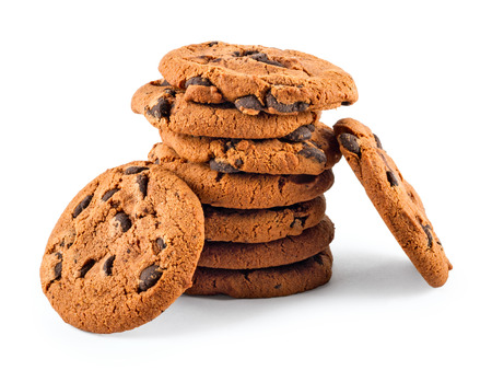 brocken: stack of сhocolate chip cookies isolated on white background