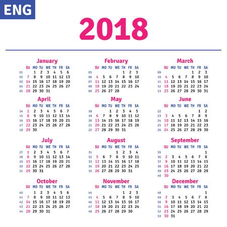 English calendar 2018, horizontal calendar grid, vector
