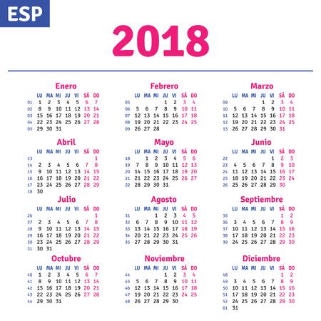 Spanish calendar 2018, horizontal calendar grid, vector