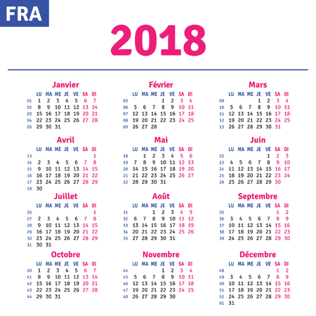 French calendar 2018, horizontal calendar grid, vector