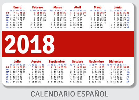 pocket size: Spanish pocket calendar for 2018, standard size ISO 7810 ID-1, vector template