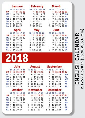 pocket size: English pocket calendar for 2018, standard size ISO 7810 ID-1, vector template Illustration