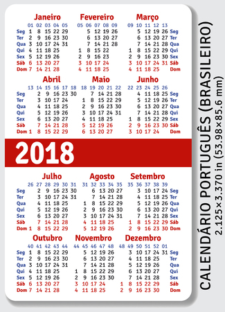 pocket size: Portuguese (Brazilian) pocket calendar for 2018, standard size ISO 7810 ID-1, vector template Illustration