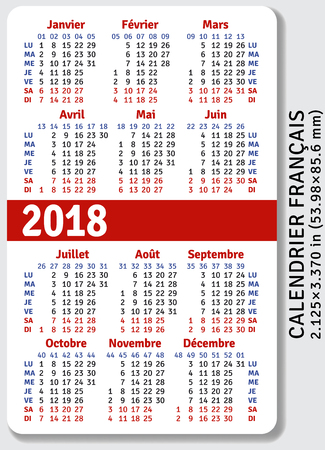 pocket size: French pocket calendar for 2018, standard size ISO 7810 ID-1, vector template