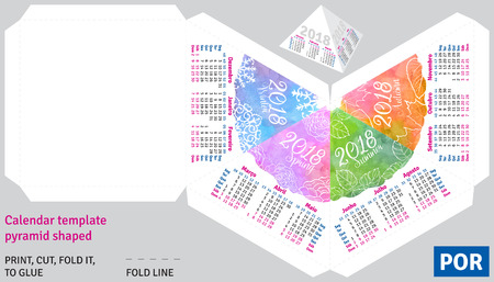 scheduler: Template portuguese (brazilian) calendar 2018 by seasons pyramid shaped, vector watercolor background Illustration