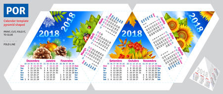 time square: Template portuguese (brazilian) calendar 2018 by seasons pyramid shaped, vector background