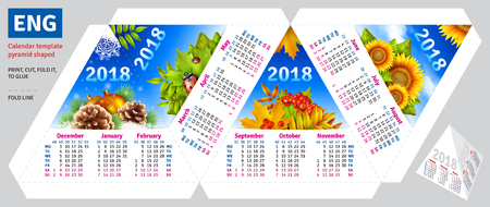 Template english calendar 2018 by seasons pyramid shaped, vector background