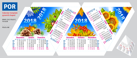 Template portuguese (brazilian) calendar 2018 by seasons pyramid shaped, vector background
