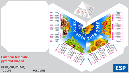 Template spanish calendar 2018 by seasons pyramid shaped, vector background