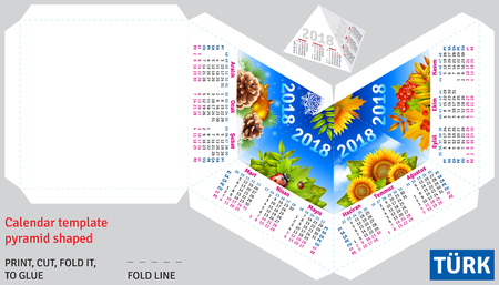 Template turkish calendar 2018 by seasons pyramid shaped, vector background Illustration