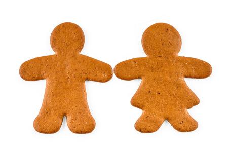 Pan de jengibre y mujer - galletas dulces de Navidad, aislados en fondo blanco Foto de archivo - 84203818