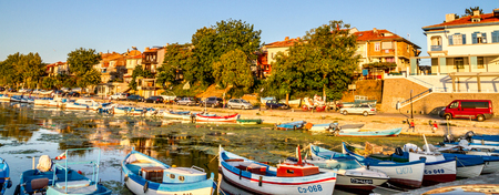clutter: Colorful boats, moored in the marina of the town of Sozopol on the Black Sea coast in Bulgaria, September 14, 2017