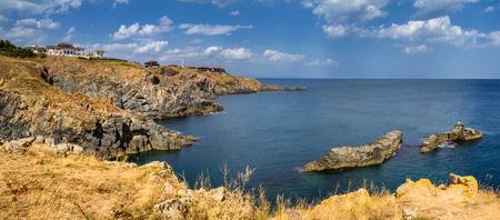 Coastal landscape banner, panorama - the rocky seashore, near city of Sozopol in Bulgaria