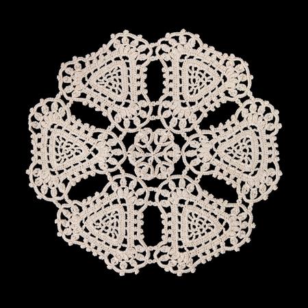 Beautiful old napkin embroidery of white thread handmade on dark background in vintage style Zdjęcie Seryjne