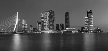 City Landscape, black-and-white panorama - Night view on Erasmus Bridge and district Feijenoord city of Rotterdam, The Netherlands Stock Photo