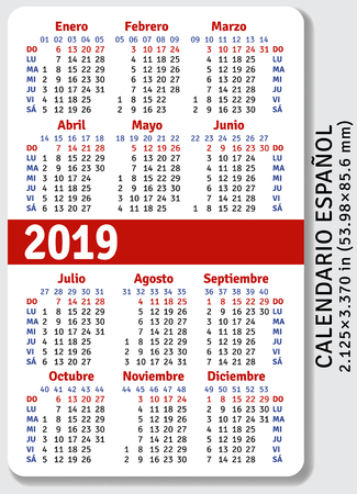 Spanish pocket calendar for 2019, standard size   on vertical vector template Vectores