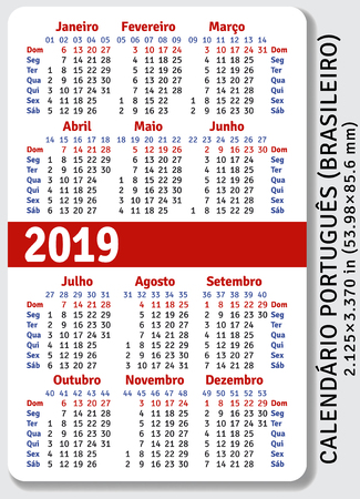 Portuguese (Brazilian) pocket calendar for 2019, standard size ISO 7810 ID-1, vertical vector template
