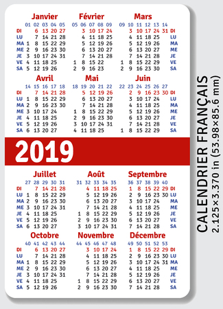 French pocket calendar for 2019, standard size ISO 7810 ID-1, vertical vector template