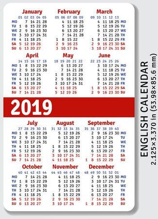 English pocket calendar for 2019, standard size  on  vertical vector template Vectores
