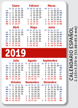 Spanish pocket calendar for 2019, standard size ISO 7810 ID-1, vertical vector template Vectores