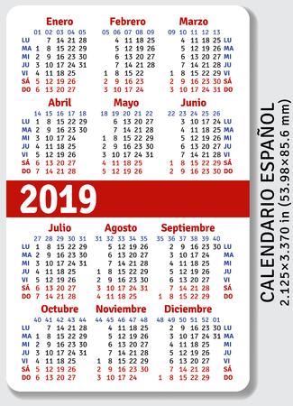 Spanish pocket calendar for 2019, standard size ISO 7810 ID-1, vertical vector template 向量圖像