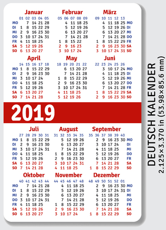 German pocket calendar for 2019, standard size ISO 7810 ID-1, vertical vector template