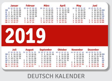 German pocket calendar for 2019, standard size ISO 7810 ID-1, horizontal vector template