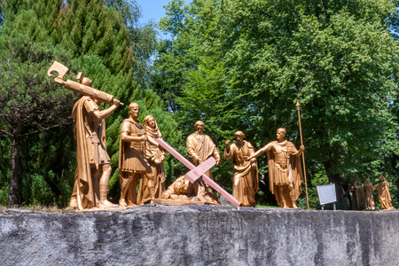 The sculptural composition of the episode of the ascent of Jesus Christ to Calvary, the Sanctuary of Our Lady of Lourdes, the Hautes-Pyrenees department in the Occitanie region in south-western France