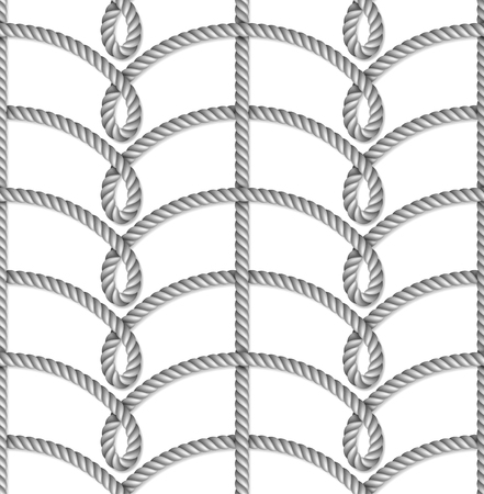 Nautical gray rope woven, seamless pattern, background, isolated on white