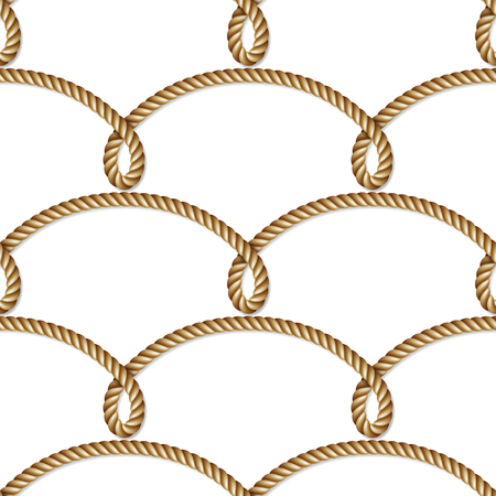 Nautical  yellow rope woven, seamless pattern, background, isolated on white Illustration
