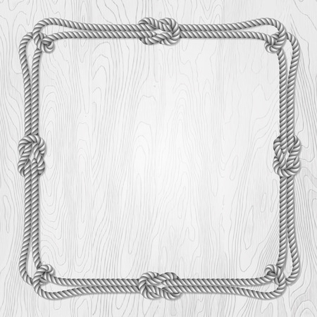 Square template, banner or greeting card on a blue wooden background with ropes, vector illustration