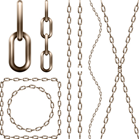 Set of realistic  brown metal chain, isolated on white  Illustration