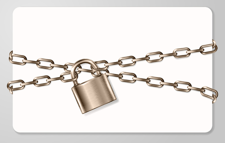 The realistic  brown metal chain and padlock, handcuffed card, vector illustration Illustration