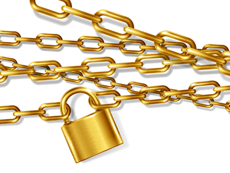 The realistic golden metal chain and padlock, handcuffed card, vector illustration Çizim