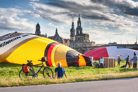 Preparing for the flight of balloons on a summer day, the city of Dresden, Saxony, in Germany, July 19, 2016